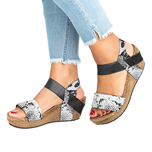 Sale!! Xinantime Womens Snake Grain Open Toe Strappy Wedge Leather Platform Shoes Roman Sandals (Whi...