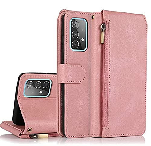 Funda de piel para Samsung Galaxy A52 5G, funda premium Wallet piel PU + silicona TPU antiarañazos, ultra fina, funda de piel para Galaxy A52 5G Cover, Rosa. (Rosa) - MRZJ-LOAZIM-1