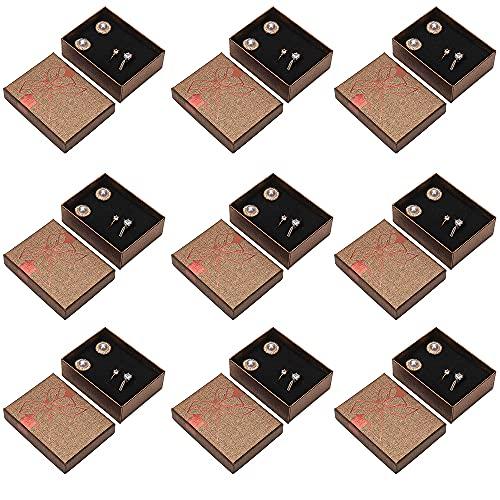 Chytaii 9PCS Caja de Regalo de Almacenamiento de Joyas Caja de Empaquetado de La Joyería del Collar del Anillo Caja de Almacenamiento de Exhibición de Joyas, Interior Cubierto con Franela Negro