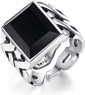 Gemma di agata nera S925 Anello in argento sterling con apertura regolabile per coppia, anello per dito indice singolo pre...