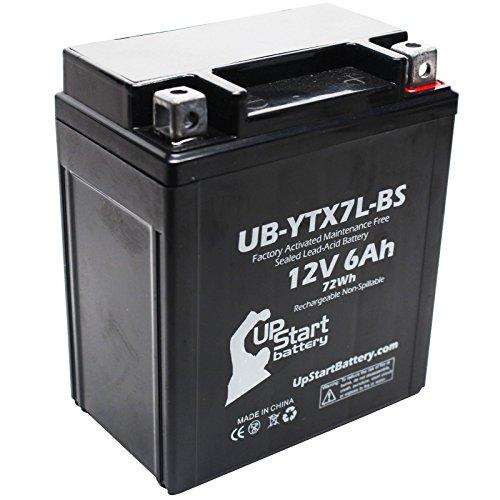 YTX7L-BS Battery Replacement (6Ah, 12v, Sealed) Factory Activated, Maintenance Free Battery Compatible with - 2012 Honda CBR250R, 2011 Honda CBR250R, 2008 Kawasaki KFX450R, 2015 Suzuki TU250X