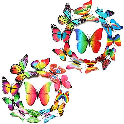 Amacoam 24 stuks 3D muurtatoeages vlinder vlinders deco vlinder muurdecoratie vlinder muursticker vlinders sticker aftrekfoto's balkon decoratie kamerdecoratie kleefpunten + magneet
