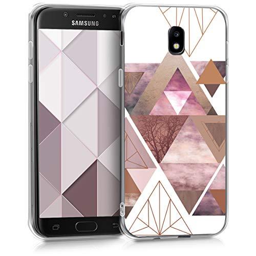 kwmobile Hülle kompatibel mit Samsung Galaxy J5 (2017) DUOS - Handyhülle - Handy Case Glory Dreieck Muster Rosa Rosegold Weiß