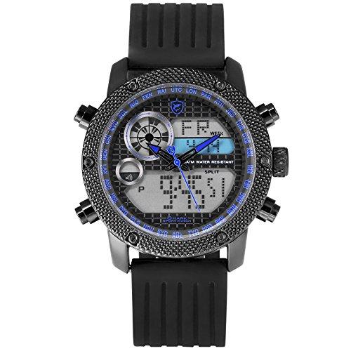 Porbeagle Shark Herren Quarz Armbanduhr Sport Silikon Datum Tag 24 Stunden Anzeige Tagesalarm Stoppuhr LCD Leuchtzeiger SH588