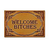 Sun & Home Custom personnalisé de porte Tapis Intérieur/extérieur Paillasson Tapis de salle de bain de la Maison Tissu non tissé antidérapant Tapis de sol, Caoutchouc, Welcome Bitches, 15.7x23.6 inch