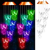 SUMBLIME Angel Solar Wind Chimes Changing Colors - 2Pack Decorative Hanging Lights for Outdoor Decor Home Patio Yard Tree, Gift for Mom, Grandma, Daughter, Granddaughter