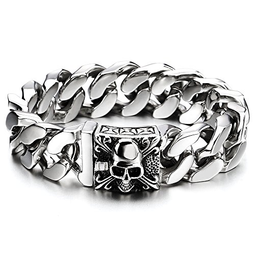 COOLSTEELANDBEYOND Mens Large Stainless Steel Curb Chain Bracelet with Fleur De Lis and Skull, Polished, Biker Gothic