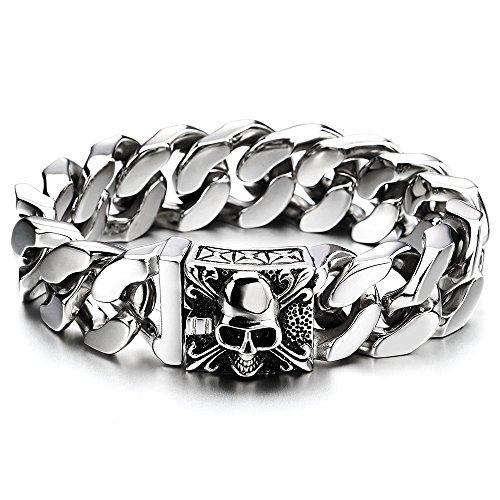 COOLSTEELANDBEYOND Großes Edelstahl Panzerkette Armband Herren mit Fleur de Lis und Schädel, Biker Gotik, Poliert