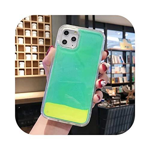 Carcasa de arena de neón brillante para iPhone 6, 6S, 7, 8 Plus, 11 Pro X XS MAX XR líquido arenas movedizas que brillan la oscuridad, funda para teléfono D-iPhone 11Promax
