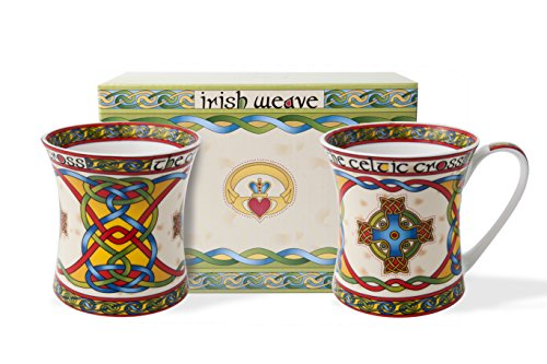 Royal Tara Scottish Celtic Cross Mug -Celtic Weave Cup - Celtic Knots Design - Made of Bone China Mug - 11oz (Set of 2) Product Name