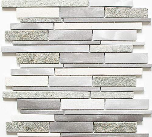 Mozaïek tegel kwariet natuursteen aluminium zilvergrijs lichtbeige composiet voor wand badkamer toilet douche keuken tegelspiegel tegelverkleeding badkuipverkleeding mozaïekmat mozaïekplaat