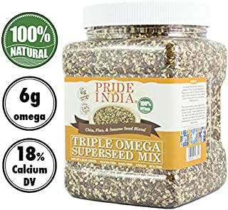 Pride Of India - Triple Omega Superseed Mix - Protein, Fiber, Calcium, Iron, Omega-3, Omega-6, Thiamin Rich Superfood w/Chia Flax & Sesame Seeds, 1.4 Pound (22oz) Jar