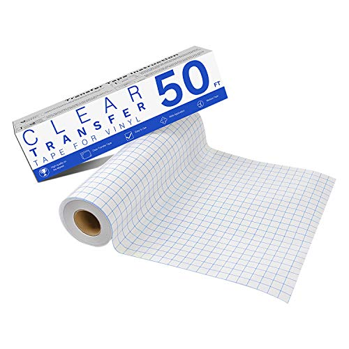 "Transfer Tape for Vinyl - 12"" x 50 FT w/Blue Alignment Grid for Adhesive Vinyl - Medium Tack Vinyl Transfer Tape for Silhouette Cameo by JANDJPACKAGING"