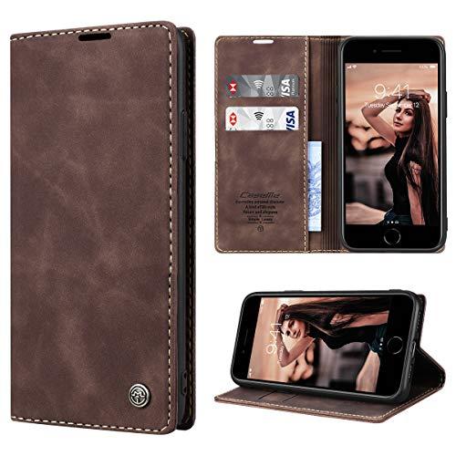 RuiPower per Cover iPhone 7/ iPhone 8 Pelle Premium, Custodia iPhone SE 2020 Portafoglio Magnetica Flip con Silicone Bumper Cover Libro iPhone SE 2020/ iPhone 7/ iPhone 8 - caffè