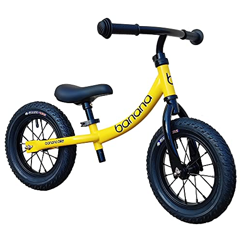 Banana GT Balance Bike - 12  Alloy Wheels Air Tires for Girls and Boys 2, 3, 4, 5 Year Olds