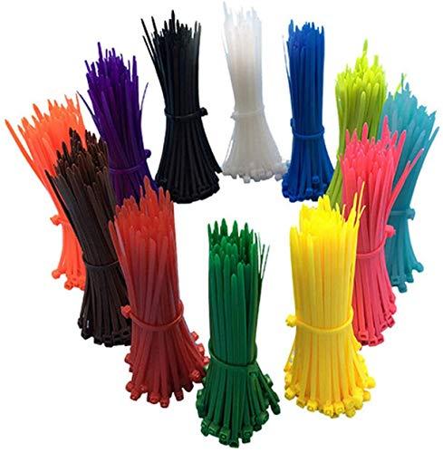Confezione da 1200 fascette stringicavo colorate, 10 cm, in nylon, di alta qualità, resistenti ai raggi UV, multicolore