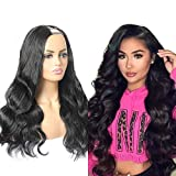 ALIMICE upart human hair wig body wave u part wigs for black women 12A Brazilian human hair u wig with u part 220% Density (body wave 14 inch, u body wave)