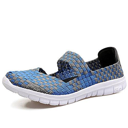 FZDX - Sneaker da donna intrecciate, senza lacci, alla moda e leggere, comodo, realizzate a mano, Blu (Blu 577.), 38 EU
