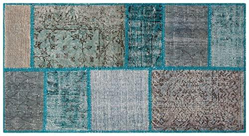 Alfombra turca de lana hecha a mano de patchwork negro P_173 Ölçü; 169x280cm 4.73m2