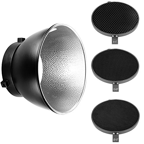 Neewer Difusor reflector estándar de 18 cm con rejilla de panal de abeja de 10/30/50 grados para montaje Bowens Studio Light Strobe Flash