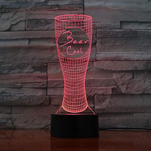 Nachtlampje Afstandsbediening Voor Bierglas Klein Nachtlampje 7 Kleuren Touch Optische Foto Tafel Decoratie Lamp, Geschikt Voor Slaapkamer Bar Sfeerlamp