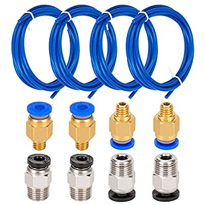 LUTER 4 Pieces Teflon Tube PTFE Blue Tubing (1.5m) with 4 Pieces PC4-M6 Quick Fitting and 4 Pieces PC4-M10 Straight Pneumatic Fitting Push to Connect for 3D Printer 1.75mm Filament
