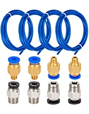 LUTER 4 stuks PTFE slang teflon slang blauw (1,5 M) met 4 stuks PC4-M6 snelkoppeling en 4 stuks PC4-M10 rechte pneumatische fitting voor 3D-printer 1,75 mm filament