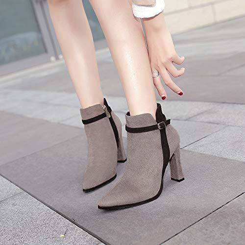 Shukun enkellaarsjes herfst en winter katoen puntige dames laarzen dik met hoge hakken riem gesp korte buis Martin laarzen kleur bijpassende kaal laarzen