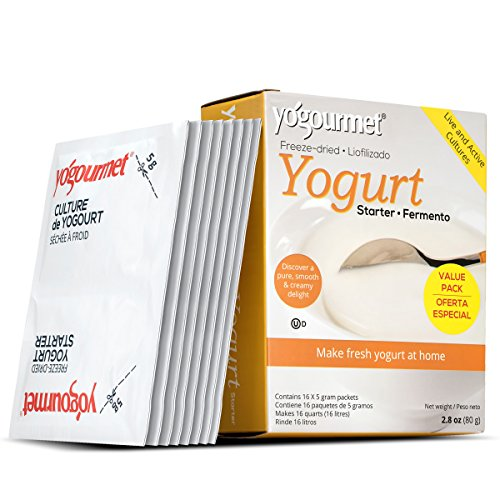 Yogourmet 16 Pack Freeze Dried Yogurt Starter Value Pack, 1 Box Containing 16 Each 5 Grams Packets 2.8 Onces