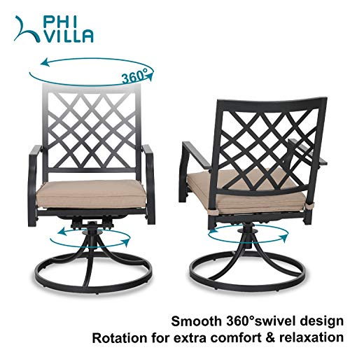 Outdoor Metal Swivel Chairs Set of 2 Patio Dining Rocker Chair with Cushion Furniture Set Support 300 lbs for Garden Backyard Bistro