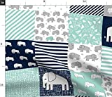 Spoonflower Fabric - Elephants Navy Mint Elephant Nursery Wholecloth Quilt Squares Baby Printed on Petal Signature Cotton Fabric by The Yard - Sewing Quilting Apparel Crafts Decor