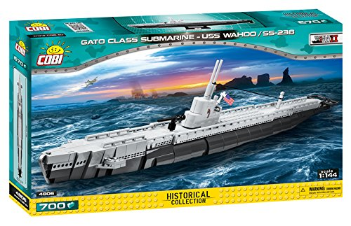 COBI 4806 Konstruktionsspielzeug Gato Class Submarine-USS WAHOO/SS238, Grau/schwarz