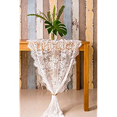Crisky 30  x 120  Lace Table Runners for Weddings Lace Overlay, Spring Summer Vintage Garden Tea Party Decor, Bridal Shower Decoration