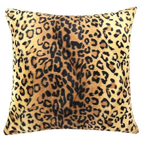 Allence Funda de cojín con estampado de leopardo, decorativa, 45 x 45 cm