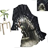 Flyerer Horror House Decor Camel Underground Road Scene in Mining Tunnel Rock Science Geology Endless Photo Girlfriend Gifts 50'x65' Gray