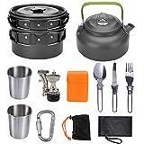JUDT Kit de Utensilios de Cocina, Senderismo Cocinar con Olla Estufa Hervidor de Agua Camping Portátil Set para 2-3 Personas Utensilios de Cocina de Aluminio al Aire Libre