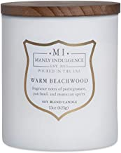 Manly Indulgence Scented Jar Candle, Warm Beachwood, Signature Collection - Soy Wax Blend, Wooden Wick - 15 Oz
