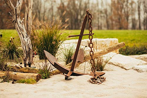 Ferrum Art patina anker mi-ketting zeevaart sculptuur metalen sculptuur figuur tuindecoratie enorme anker met ketting afmetingen: hoogte 102 cm breedte 90 x 90 cm kettinglengte 2 m excl. Handgemaakt Made in Germany