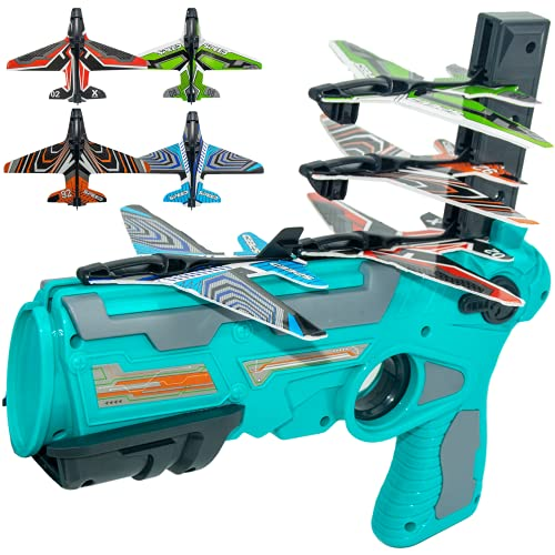 Airplane Toy,Bubble Catapult Plane Toy Airplane, Outdoor Toys,One-Click Ejection Model Foam Airplane Shooting Game ,Toy with 4pcs Glider Airplane Launcher Outdoor Toys for Kids Birthday Party.(Blue)