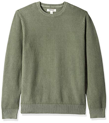 Amazon Brand - Goodthreads Men's Soft Cotton Thermal Stitch Crewneck Sweater, Washed Olive, X-Small