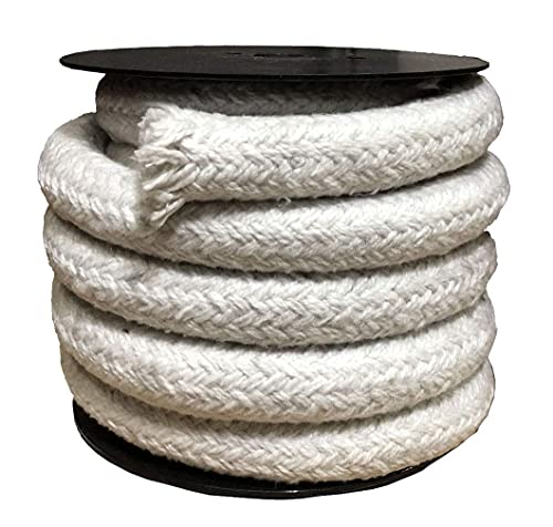 TINGCHAO Rope Seal 3.2 Feet Long Round Braided Ceramic Fiber Rope Gasket High Temperature Gasket Seal for Boiler Furnace Oven Kiln Casting,Diameter 30mm