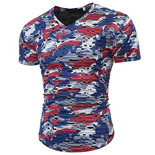ZYYM Man Fashion Casual Slim Fit Short Sleeve T Shirt Summer Muscle Holiday Destroyed Top Men's Slim Fit Short Sleeves T-Shirt Muscle Casual Tops Solid Colour Stylish Blouse for Spring Summer