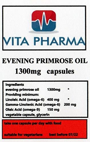 Evening Primrose Oil 1300mg 240 Capsules, Vegetarian, by vita pharma, Produced in The UK