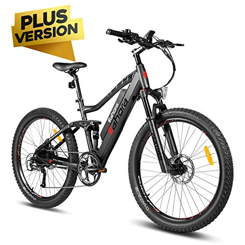 eAhora AM100 Plus 27.5 Inch 48V Mountain Electric Bicycle Cruise Control Electric Bikes for Adults, Hydraulic Brakes Full Air Suspension Removable Lithium Battery 350W Ebike Power Regeneration 9 Speed