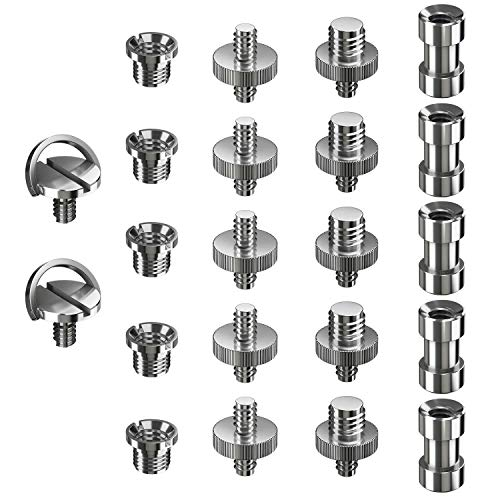 Ventvinal Adaptador Rosca Tripode 22 Piezas Adaptadores de Metal Convierten Tornillos 1/4
