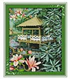 Kreuzstich-Kit Digitales Kreuzstich-Kit DIY-Dekoration bedruckter Pavillon und Blumen auf Leinwand 40x50 cm (vorgedruckte Leinwand 14CT)
