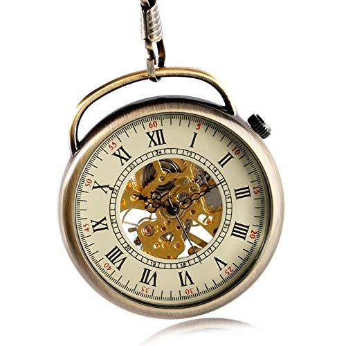 Yxxc Reloj de Bolsillo Reloj de Bolsillo de Moda Mecánico Viento Manual Mango Especial Reloj Esqueleto Elegante Clásico Steampunk Mujeres Hombres Cadena (Color: Bronce)