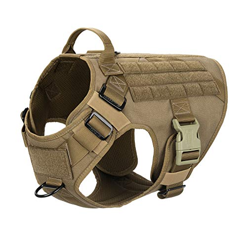 ICEFANG Lightweighting Tactical Dog Harness with Handle,Working Dog Training Molle Vest,No-Pull Front Leash Clip, Hook and Loop Panel for Dog ID Patch (XL(Chest 32'-39'), Coyote Brown)