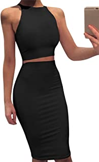 Women Sleeveless Bodycon 2 Piece Midi Skirt Outfits Halter Cocktail Dress