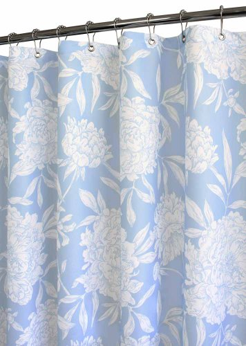 Light Blue and white floral shower curtain